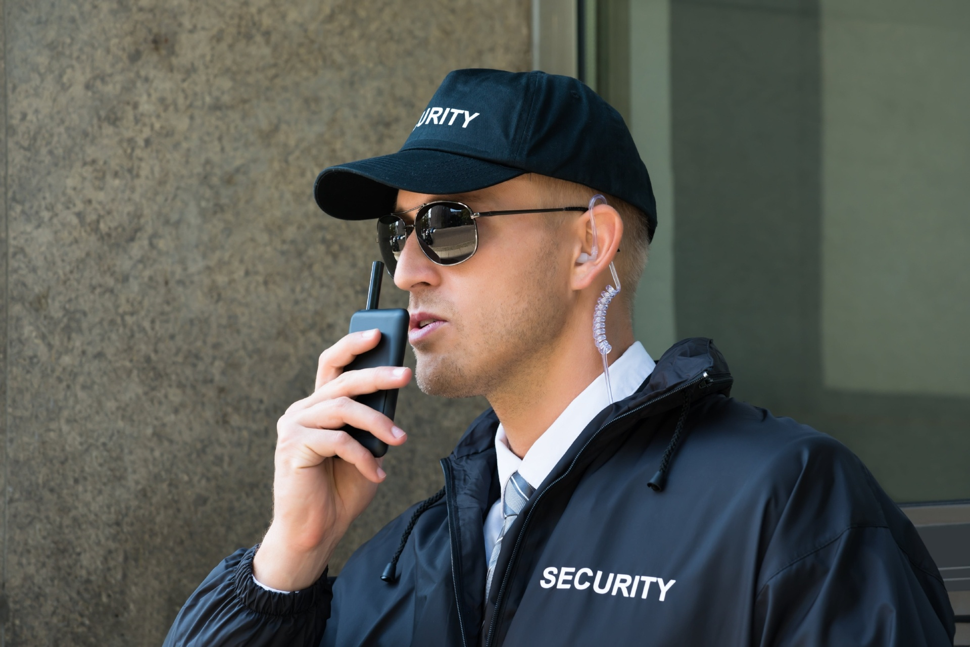 Security office on a walkie-talkie