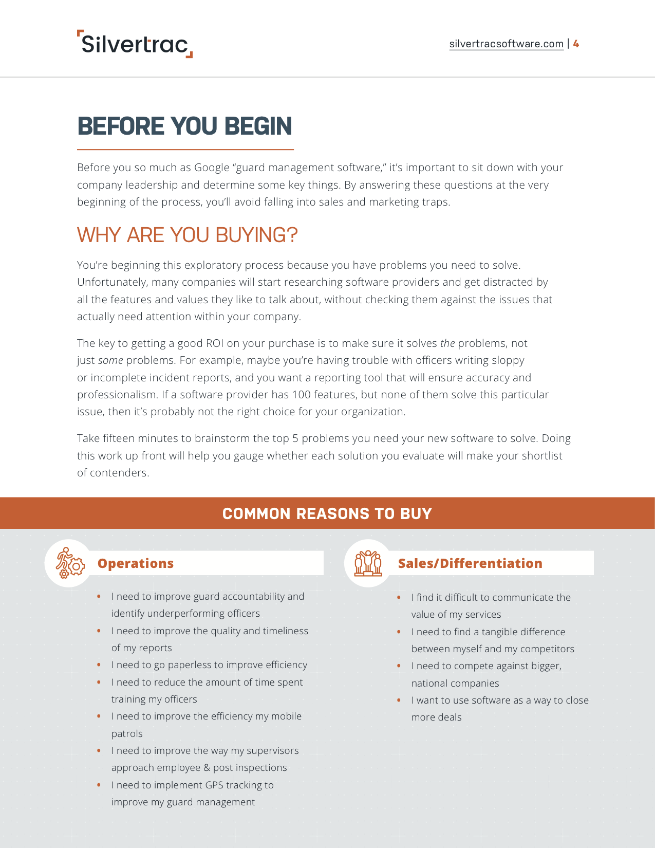 Your Guide to Buying Guard Management Software ebook provided by Silvertrac Software