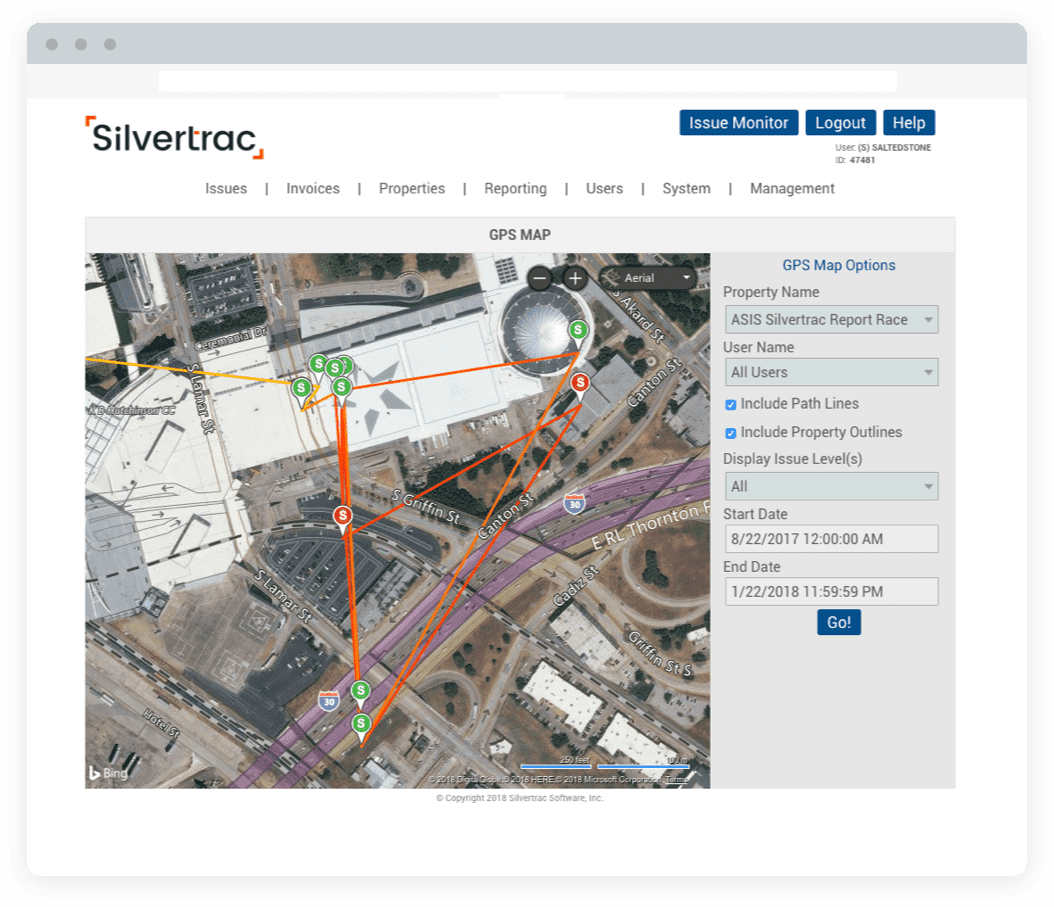 Silvertrac Guard Management Software Optimized Mobile Security Routes In Use
