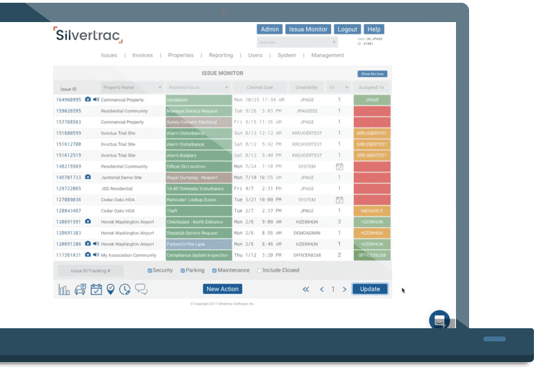 Silvertrac Guard Management Software Accessed on Laptop